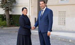 Home secretary Priti Patel with French interior minister Christophe Castaner.