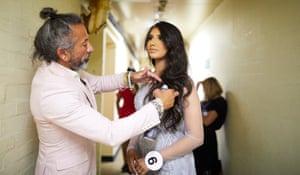 Miss Lancashire, Aysha Khan backstage in Newcastle.