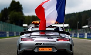 The safety car flies a French flag in tribute to the late Formula 2 driver Anthoine Hubert.