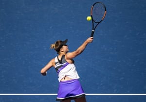 Elina Svitolina hits a backhand.
