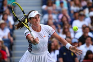 Johanna Konta focuses on a forehand.