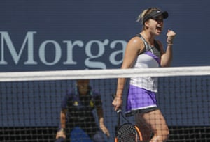 Elina Svitolina reacts after scoring a point.