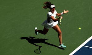 Johanna Konta plays a forehand return.