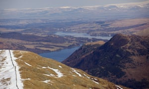 A view of Ullswater seen from the flanks of Helvellyn.