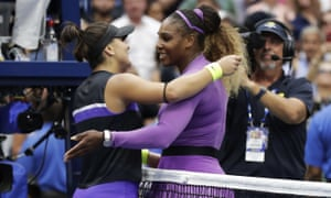 Serena Williams congratulates Bianca Andreescu at the end of the match.