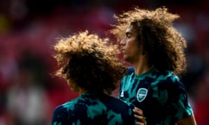 David Luiz, left, and Matteo Guendouzi of Arsenal during the warm up.