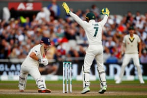 Tim Paine appeals unsuccessfully against Jonny Bairstow.
