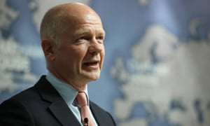 Former foreign secretary William Hague speaking at Chatham House in London about the EU referendum.