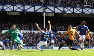 Wolverhampton Wanderers' Romain Saiss scores the equaliser.