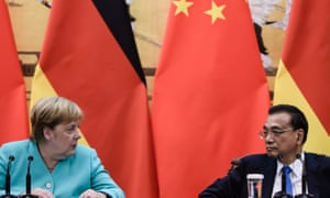 German chancellor Angela Merkel and Chinese premier Li Keqiang at a joint press conference at the Great Hall of the People in Beijing, China.