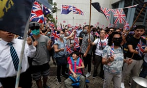 People gather to call on the British government to declare the invalidity of the Sino-British Joint Declaration on Sunday.