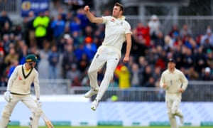 Craig Overton celebrates after an excellent delivery accounted for the wicket of Australia's Marnus Labuschagne.