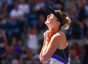 Elina Svitolina celebrates her victory over Johanna Konta.